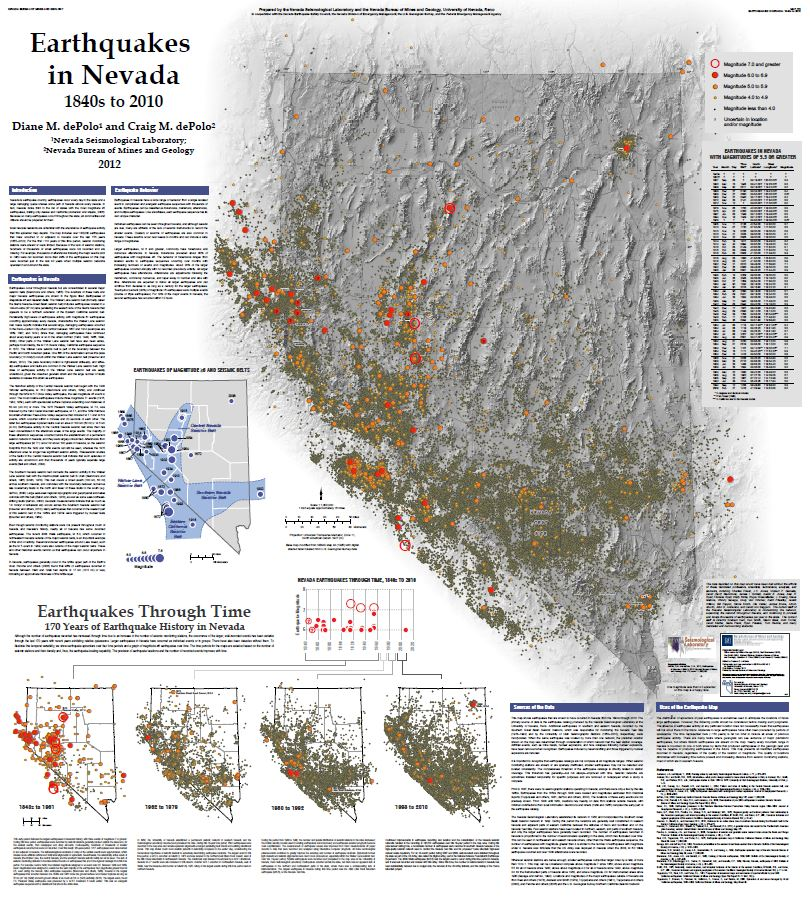 Earthquakes in Nevada 1840s to 2010